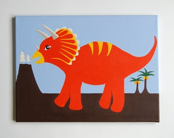"Dinosaur Wall Art, Triceratops painting, Dinosaur Nursery Art, Boys dinosaur room, Baby boy, Dinosaur decor, 16"" x 12"" original painting"