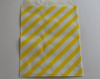 Yellow Striped Favor Bags