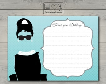 Printable Breakfast at Tiffany's Thank You Card | Bridal Shower | Baby Shower | Birthday Party | DIY