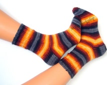 Hand knitted socks Womens socks Warm socks Men's socks Women's socks Girl's socks Yellow brown gray striped socks from batic yarn Gift idea