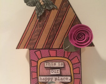 CLEARANCE, ON SALE, decorative home decor, decorative house, this is our happy place, cottage chic decor, housewarming gift, house gift,