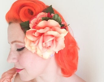 Pinup Orange Rose Trio Hairflower / Peach and Orange Roses and Berries Rockabilly Fascinator