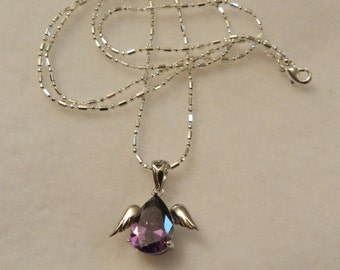 Classic 925 Sterling Silver Amethyst Tear Drop Necklace V14