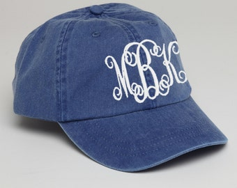 Royal Blue Monogrammed Baseball Cap for Ladies-Pigment Dyed Hat. Interlocking Script Monogram-Custom Embroidery, Personalized Baseball Hat