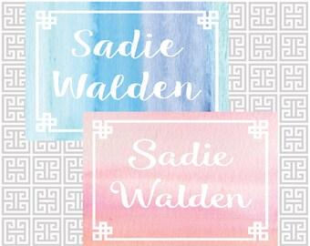 stationery set, watercolor stationery, folded note set, personalized stationery, folded notecards, painted notecards