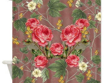 Red Roses Reflexion Shower Curtain