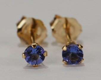 Tanzanite Earrings~14 KT Yellow Gold~3mm Round Cut~Genuine Natural Mined