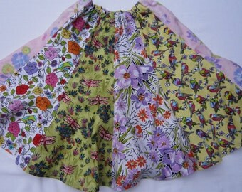 Girls Cotton Twirly Skirt in Bird, DragonFly and Floral Fabrics in Sizes   10 and  12
