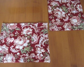 Wonderful Place Mats, Placemat, Quilted Placemat, Floral Placemat, Burgundy  Placement, Downtown Abbey
