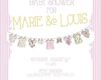Baby Clothes Line Baby Shower Invitation Download, Personalized Party Invite, Printable