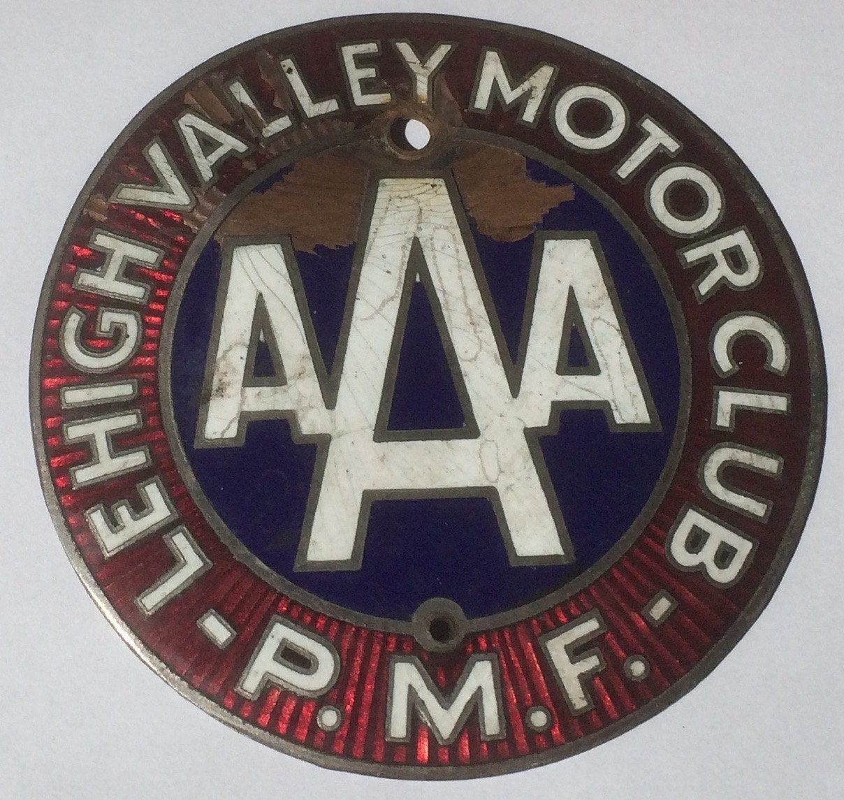 Vintage Aaa Lehigh Valley Motor Club P M F License Plate