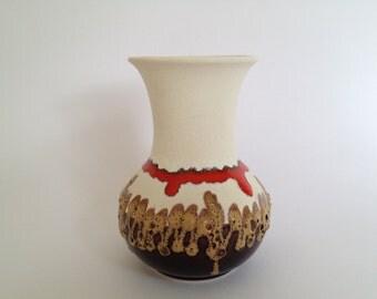 Bay Keramik  70  - 14 Fat Lava vintage Mid Century Modern 1960s /1970s  vase  West Germany Pottery. WGP vase.