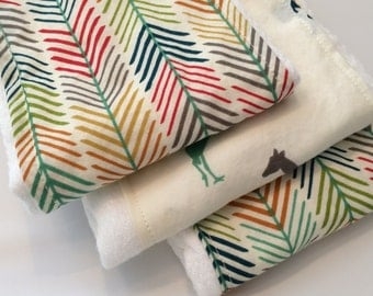 ORGANIC Feather/Safari Burp Cloth Set (3)