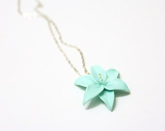 Mint Lily flower necklace, delicate necklace for her gifts, Spring Jewelry, Wedding Jewelry Gift