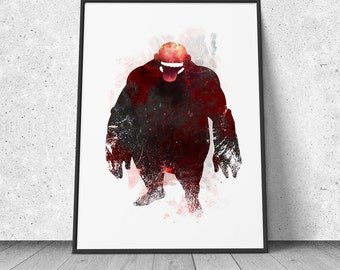 Gluttony, Homunculus, FMA, Full Metal Alchemist inspired, watercolor illustration, giclee art print, silhouette, anime, wall decor