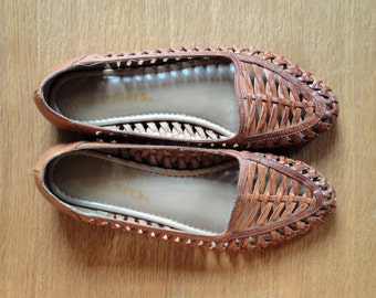 SOLD Vintage Light Brown Woven Leather Shoes Loafers