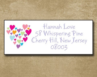 Address Labels, Personalized Mailing Stickers, Return Address Labels, Wedding Announcements, Multi Heart Labels for Moving,