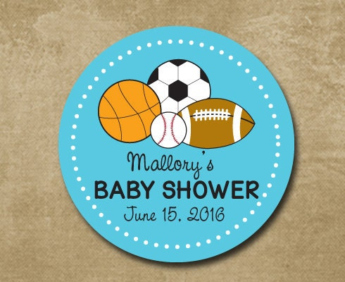 sports theme baby shower favor stickers baby shower