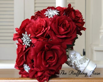Silk wedding bouquet... red roses...brooches...bride, bridesmaid, Quinceanera...may be custom made in your bridal colors.