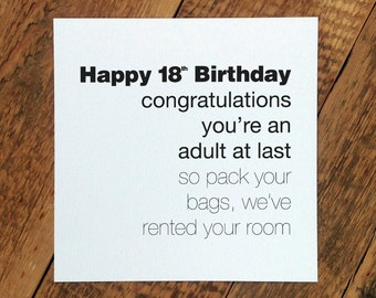 Funny 18th Birthday Card; 'You're An Adult At Last' (GC130)