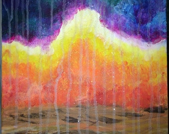 Heavenly Rains of Fire, christian art, prophetic art, christian oil painting, 2timothys16, abstract oil painting, christian abstract art