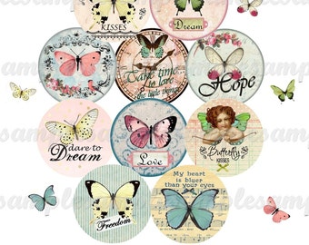 digital bottle cap butterfly digital collage sheet butterfly, digital images romantic, one inch circle , instant download circle