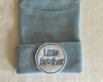 Newborn Hospital Hat  Little Brother Hospital Hat - Newborn Boy Hospital Hat - Baby Boy Hospital Hat -  Little Brother Hat