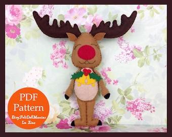 Christmas Reindeer Doll. Felt Doll. PDF Pattern & Tutorial. Christmas Pattern. Christmas Decoration.