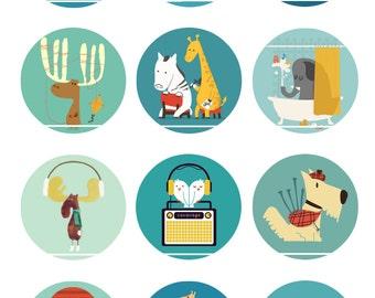 Printemps des animaux 12 Images/Dessins digitales/collage sheet pour cabochon 25 mm Rond