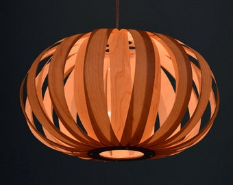 Pendant Light//Pumpkin Wood pendant lamp//made from maple veneer-ceiling light-dining room light-lampshade-lighting-pendant lighting-home
