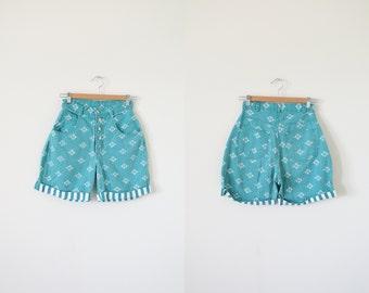 80s high waist shorts / vintage denim shorts / green shorts