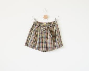 80s plaid shorts / vintage high waist shorts / summer shorts