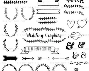 Wedding Clipart Set - Rustic Clipart - Rustic Boho Wedding Graphics - Wreath Clipart - AI PNG and Photoshop Brush - Instant Download