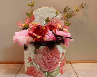 Pink Roses Paris Hat Box Floral Arrangement PamsDeZines Parisian Pink Roses Butterfly Arrangement   (Item 247)