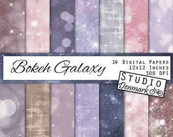 Bokeh Galaxy Digital Paper - Periwinkle and Blush Night Sky Backgrounds -  Celestial Bokeh - Pink and Purple Starry Night - Instant Download