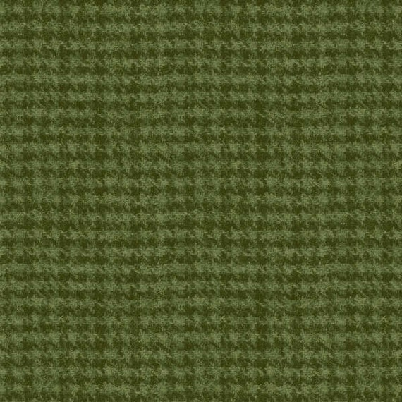 Items Similar To Green Houndstooth Woolies Flannel Fabric Yardage Maywood Woolies Flannel