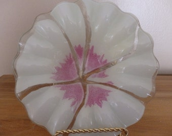 Vintage Art glass bowl 1980 V. Palumbo Handcrafted art glass by An American Cristalleries Inc.  1980 Art glass
