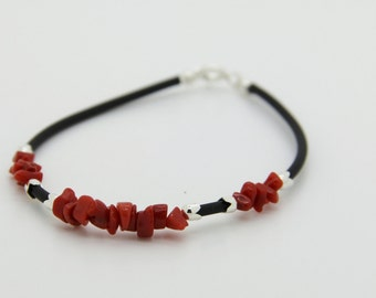 women in Corsican certified genuine red coral bracelet