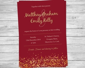 Wedding Invitation - printable - christmas invite