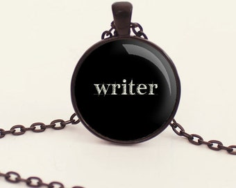 Write Charm Necklace - Black - Writer - Writer Jewelry - Write - Gift for Writer (B4114)