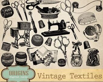 Textile Clip art, Vintage Textiles, Vintage Vectors, Craft Clipart, Scissors, Sewing, Antique Crafts Clip Art, Commercial Use