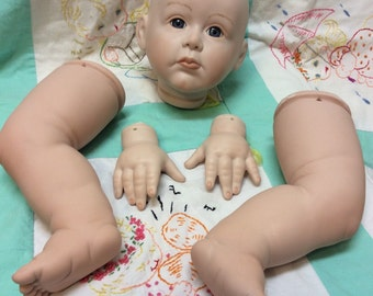 Truly Precious Porcelain Doll Head Hands Legs Kit Reproduction Fayzah Spanos Original 1988, Doll Parts, Porcelain Doll Kit