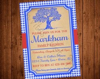 Family Tree (Blue Gingham) Family Reunion Invite (Printable)