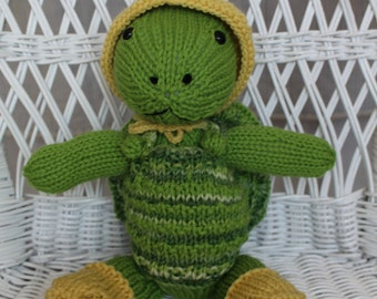Harold the Handknit Turtle with Rain Hat and Galoshes