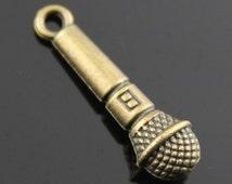 20pcs 25×7mm Microphone charms antique Bronze tone Pendant A10775
