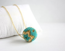Turquoise Beaded ball - Beads pendant - Seed beads necklace