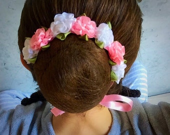 Pink and white bun wreath