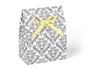 Favor Boxes, Grey Damask with Yellow Ribbon // Set of 8