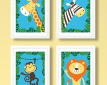 Childrens jungle print set , animal print set, animal wall art, jungle nursery prints, nursery decor, kids bedroom, kids decor, kids room
