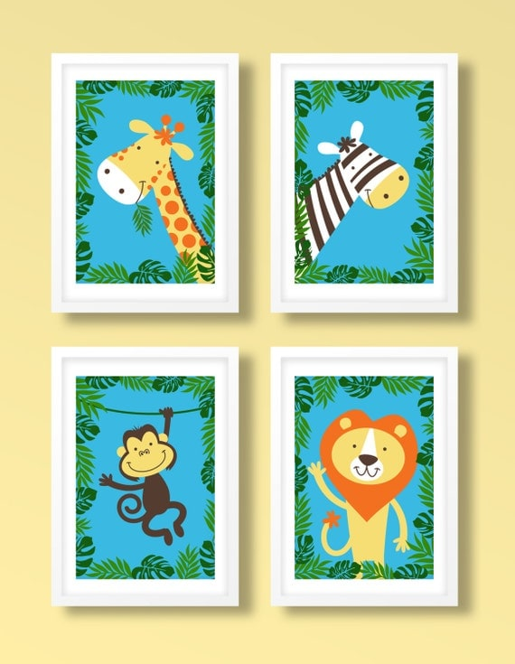 Childrens jungle print set animal print set animal wall for Childrens jungle print fabric